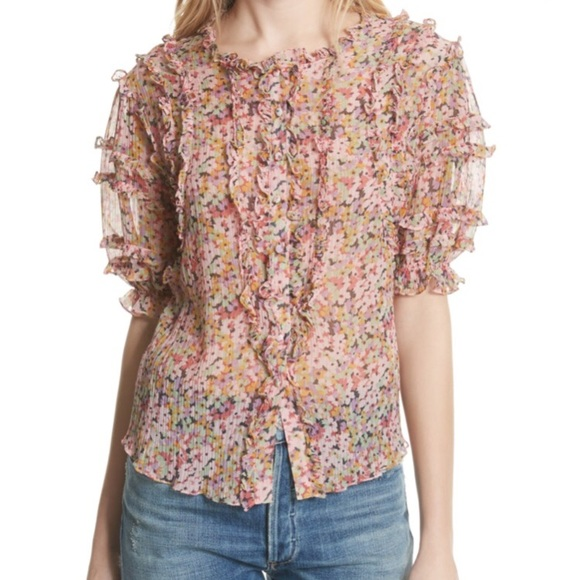 8e184c0217c07 Rebecca Taylor Margo Ruffle Floral Top